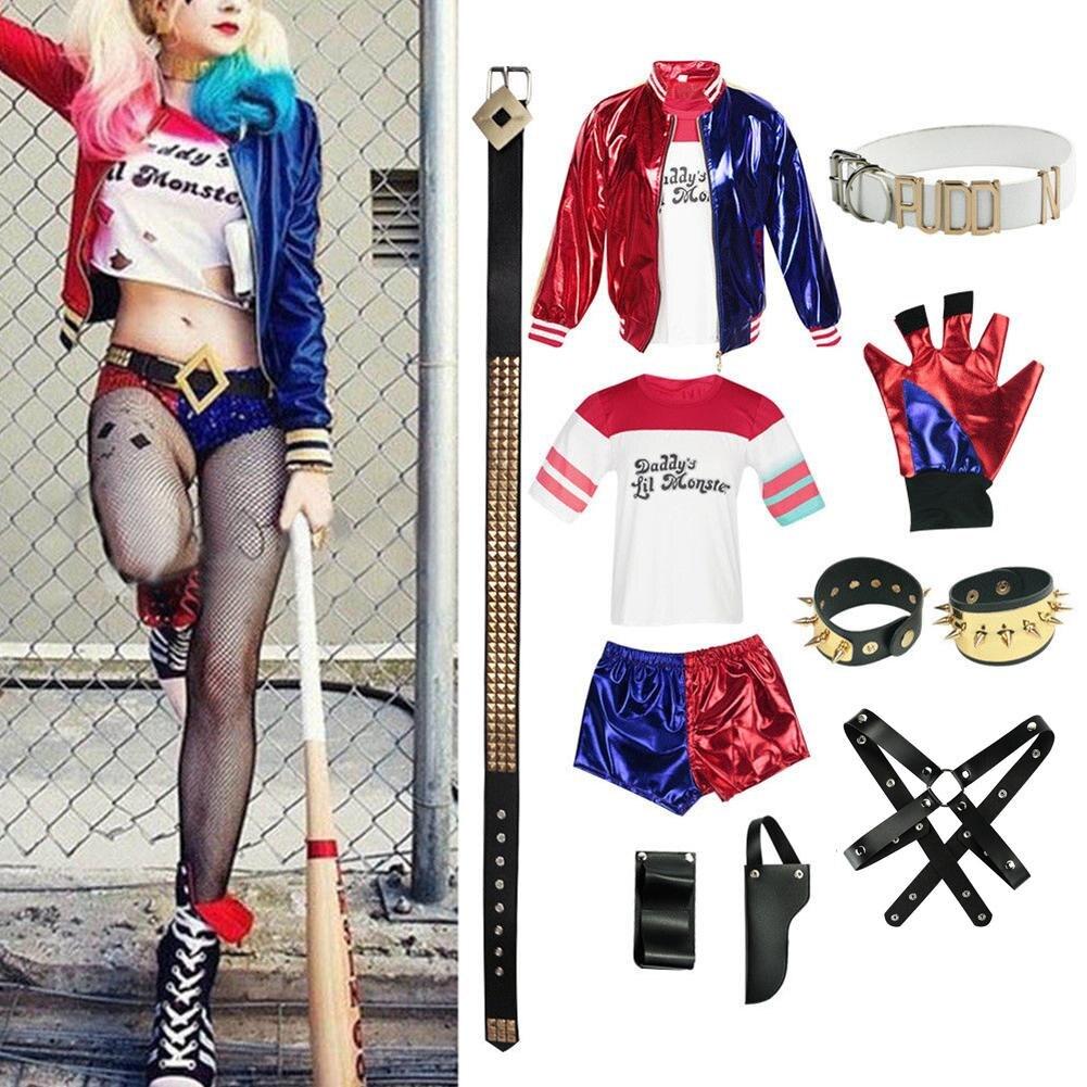 9 pcs New Adulto Harley Quinn Traje de Halloween Role-Playing Roupas Jaqueta Top Shorts t Acessórios do Esquadrão Suicida para As Mulheres