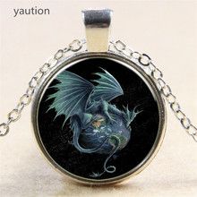 Hot! Star Air Fly Dragon Pendant Necklace Antique Silver/Bronze Chain Glass Necklace Vintage Jewelry Gift For Women Men