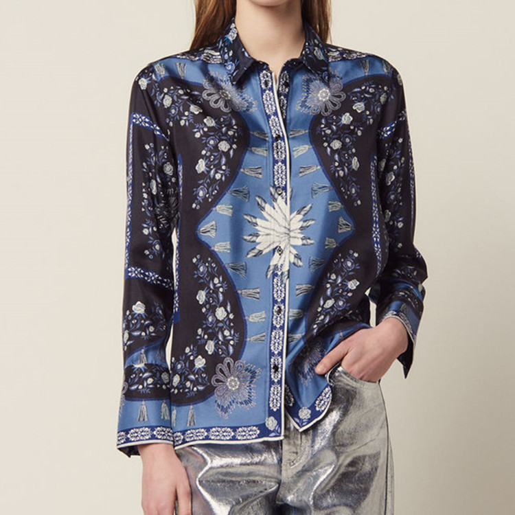 2019 summer Long sleeve printed casual with loose shirt ladies womens tops and blouses