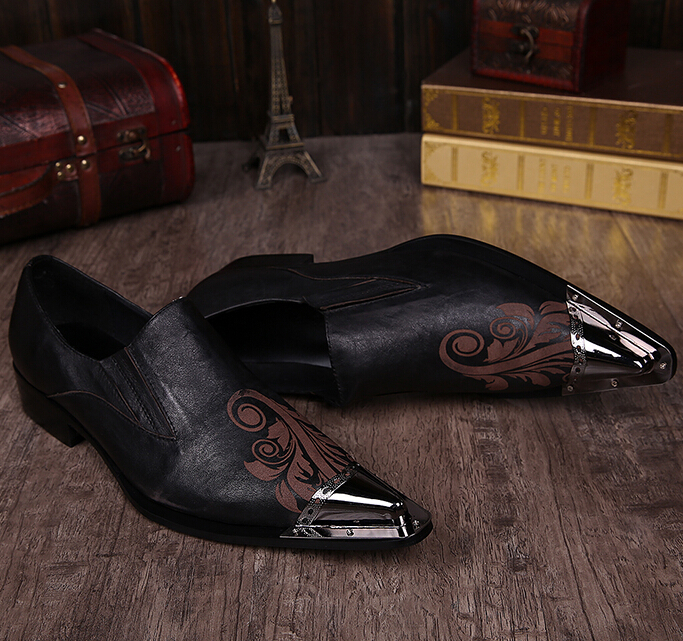 Shoes Formal Shoes Suede Leather Sapato Masculino Men Shoes Slip-on Rose Flower Male Shoes Coolsapato Masculino Flats 46 Metal Toe Chaussure Homme