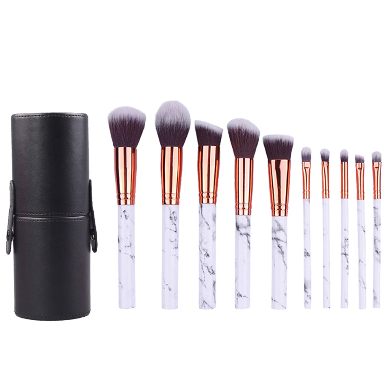 Kaizm 10pcs Professional Marble Makeup Brushes Soft Makeup Brush Set Foundation Powder Brush Beauty Marble Make Up Tools professional 10pcs set orange color makeup stick makeup brush set foundation fan brush eye shadow brush beauty tools