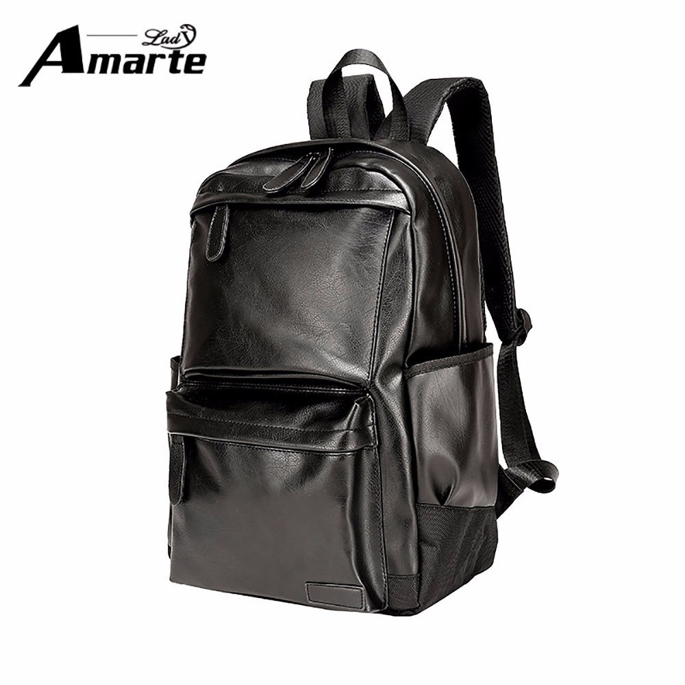Amarte Men Women Backpacks Fashion Solid Leather School Bags for College Students Big Capacity Laptop Backpack Travel Backpacks dispalang custom design gorilla owl school backpacks for college students 17 inch felt backpack large capacity men school bags