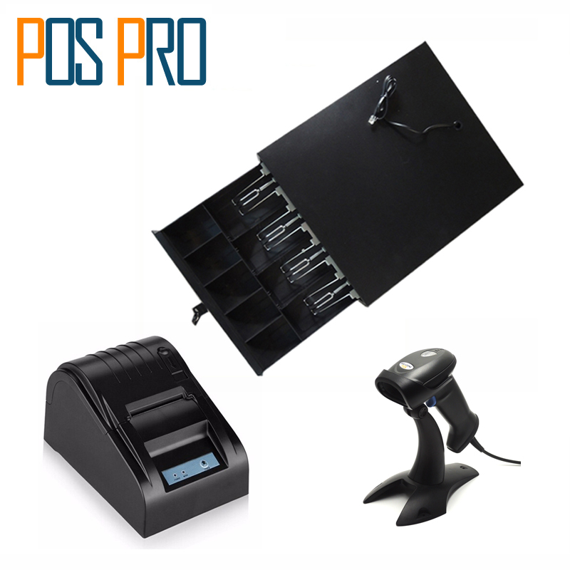 IPCD01 Cash Register Drawer 5 Coins 4 Bills of the cashbox + 58mm thermal Printer+1D barcode Scanner with Stand cash register drawer pos cash drawer five grids three section of the cashbox with rj11 interface