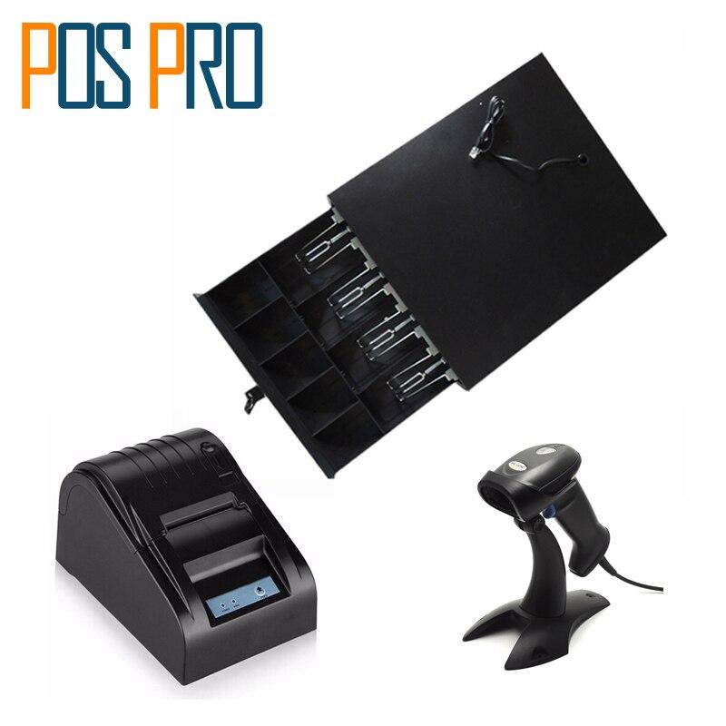 bilder für IPCD01 Kassenschublade 5 Münzen 4 Rechnungen der cashbox + 58mm thermodrucker + 1D barcode-scanner mit Stand