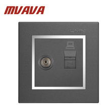 MVAVA Computer + Television Wall Socket Electric RJ45 Network+ TV Aerial Socket Wall Mount Coaxial Outlet Plug Chromed PC Panel