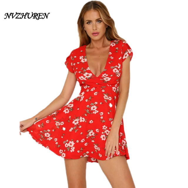 42715d7b05de NVZHUREN White Floral Print Red Mini Dress For Women Short Sleeve Ladies  Chiffon Dress V Neck Office Summer Dresses Vestidos