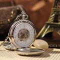 Рука ветер механический карманные часы 2 стороны открыты чехол мода мужчины скелет часы стимпанк винтаж карманные часы с