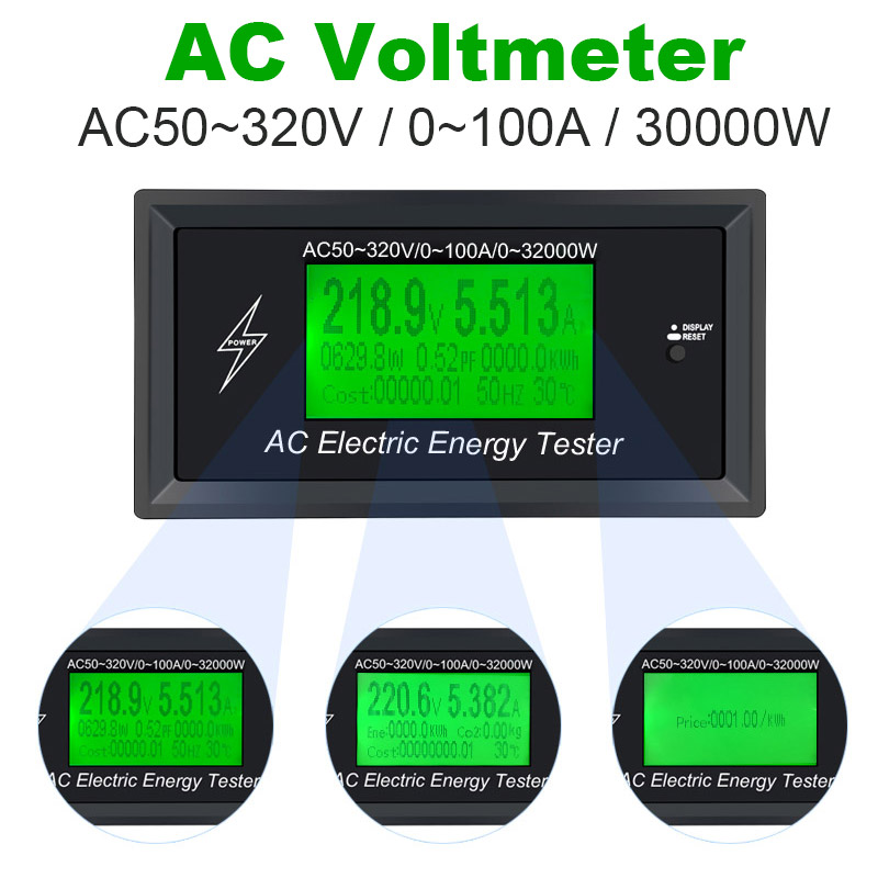 AC50~320V 100A 3KKW Digital Voltage Meters indicator Power Energy Voltmeter Ammeter current Amps Volt wattmeter tester detector недорго, оригинальная цена