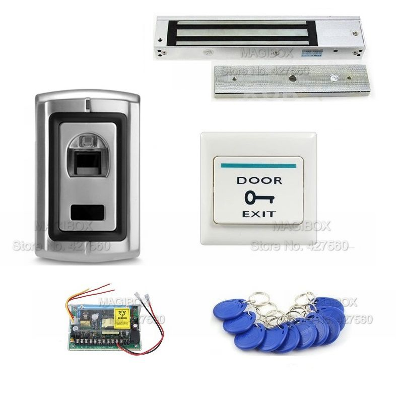 ACSS18  Fingerprint & ID/EM Reader Door Access Control System Kit  280Kg Magnetic Lock + Power Supply+Switch