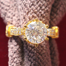 THREEMAN Big Stone!! Test Real Moissanite Gold Ring Solid 14KT Rose Ring 5CT Moissanite Engagement Ring For Women Bridal Jewelry