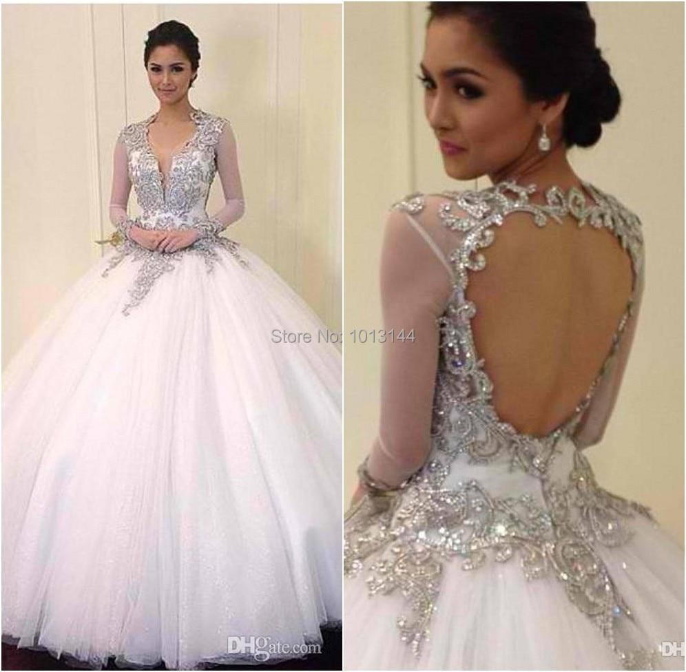 New 2014 long sleeve bling wedding dresses v neck beads for Big bling wedding dresses