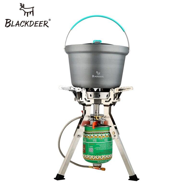 BLACKDEER Ультралегкая титановая газовая плита для кемпинга, пикника, ветрозащитная портативная газовая Складная плита, конфорки, стабильная с лобовым стеклом, на открытом воздухе - 2
