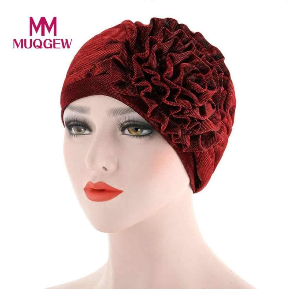 4098d5af5f7 ... 2018 Women India Hat Muslim Ruffle Cancer Hat Pearl Beanie Scarf Turban  Head Wrap Cap Muslim ...