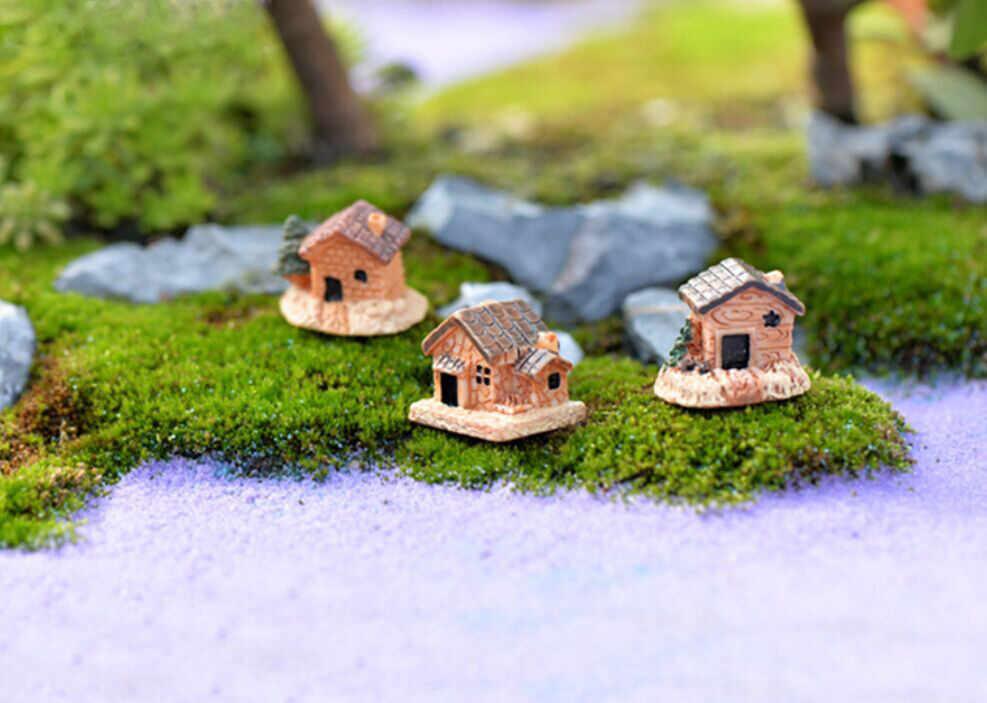 Mini kamienny domek dla lalek żywiczne dekoracje na dom i ogród DIY Mini Craft domek dekoracja krajobrazowa duszpasterska odpowiednia