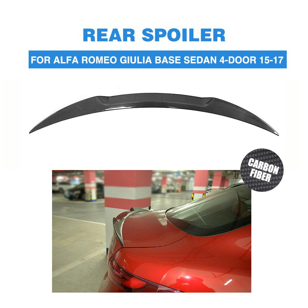 Car Styling Carbon Fiber Car Rear Spoiler Trunk Boot Lip Wing For Alfa Romeo Giulia Spoiler Sedan 2015-2017 for mazda mx5 na miata type 2 new style real fiber glass rear trunk boot ducktail spoiler wing lip car accessories car styling