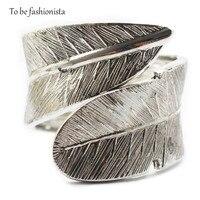 Silver Feather Bangle Bracelet Punk Rock Vintage Wide Alloy Feather Angel Wing Leaves Cuff Bracelet Bangles