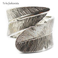 Silver Feather Bangle Bracelet Punk Rock Vintage Wide Alloy Feather Angel Wing Leaves Cuff Bracelet Bangles Adjustable for Women