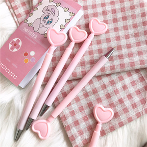 Image 4 - 36 pcs/Lot Pink heart gel pen Pink color body Press type writing signature pens Stationery Office supplies Canetas escolar F706