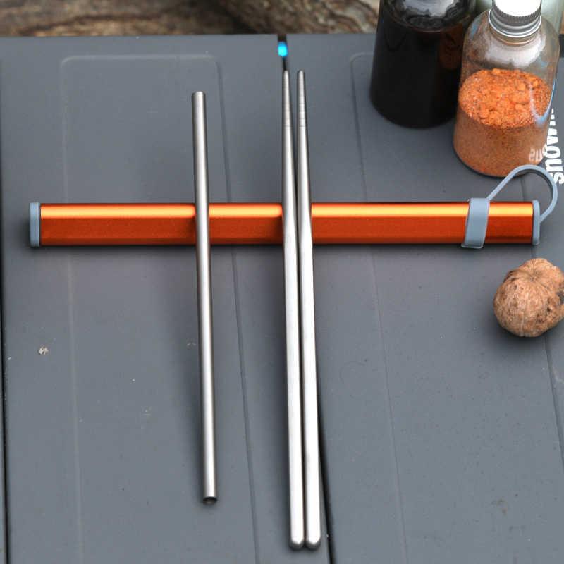 Tiartisan ポータブル食器セット日本チタンカトラリー箸わらセット屋外のキャンプ旅行箸わら食器