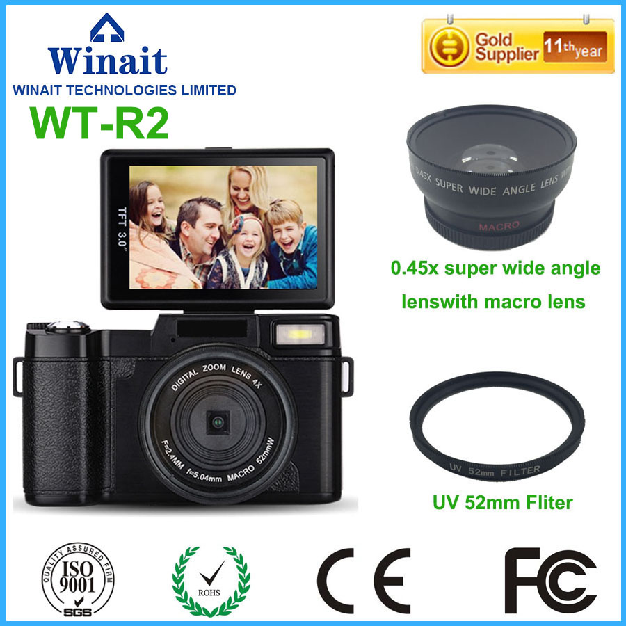 Freeshipping 24MP 8.0MP CMOS Professional Camera Digital 3.0 1080P HD DSLR Camera Changeable Wide Angle Lens 800mA Li-Battery