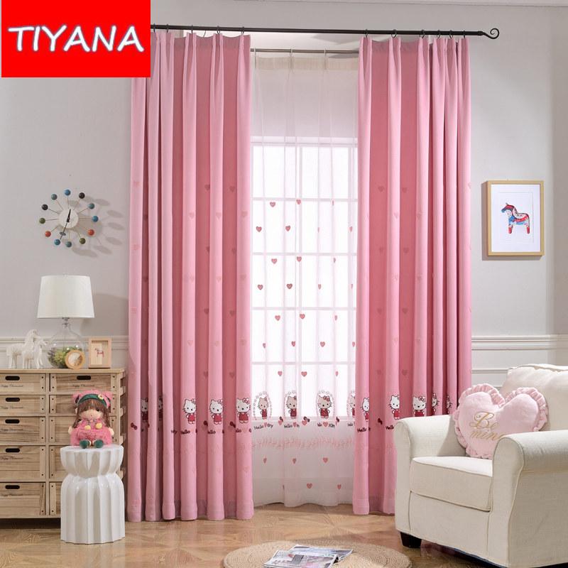 rosa princesa dos desenhos animados gato terminou cortinas blackout cortinas para sala de estar das crianas