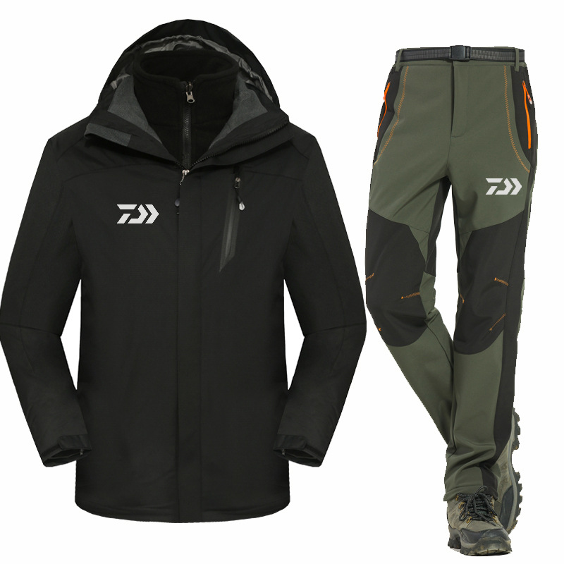 2017 High Quality Fishing Clothing Sets Men Breathable Outdoor Sportswear Suit Winter Autumn Warm Fishing Shirt and Pants  FS024 2016 daiwa warm fishing clothing sets men breathable sun uv protection outdoor sportswear suit fishing shirt fishing pants
