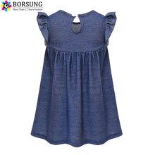 BORSUNG Girls Ruffle Sleeve Dress