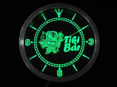 Nc0295 Tiki barre masque bière néon signes horloge mur LED