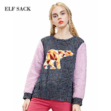 ELF SACK fashion brand new arrival 2015 winter women animal pattern applique color block sweatshirt school style free shipping
