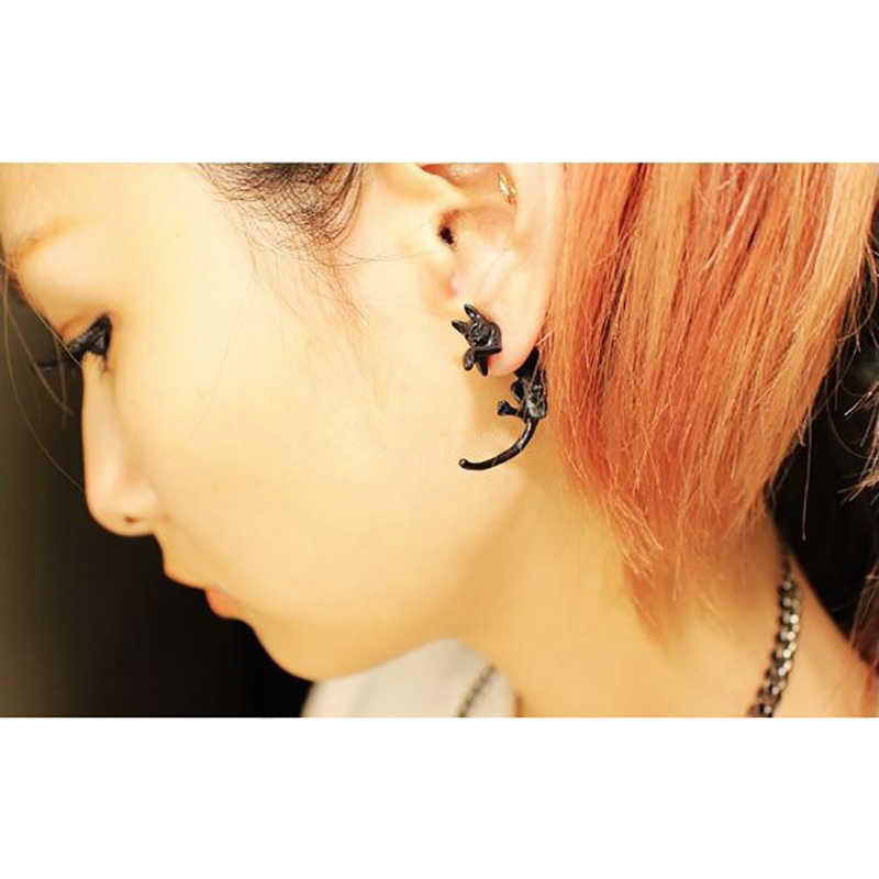 Black Popular Long Tail Small Leopard Cat Puncture Earrings Girls And Boys Animal Stud Earrings for Men Women