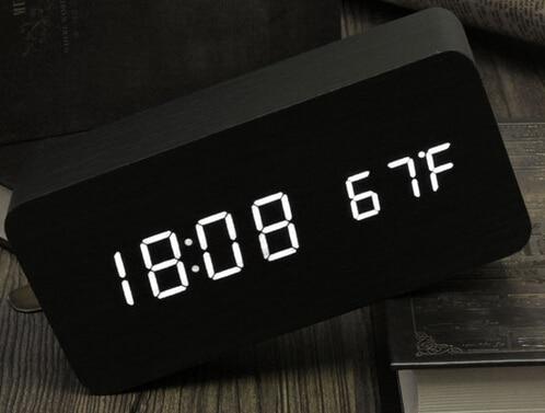 Fashion Hot Modern sensor Wood Clock Dual led display Bamboo Clock digital alarm clock Led Clock Show Temp Time Voice Control