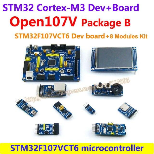 STM32 Борту STM32F107VCT6 STM32F107 STM32 ARM Cortex-M3 Совет По Развитию (64KB RAM) + 8 шт. Дополнительные Модули = Open107V пакет B