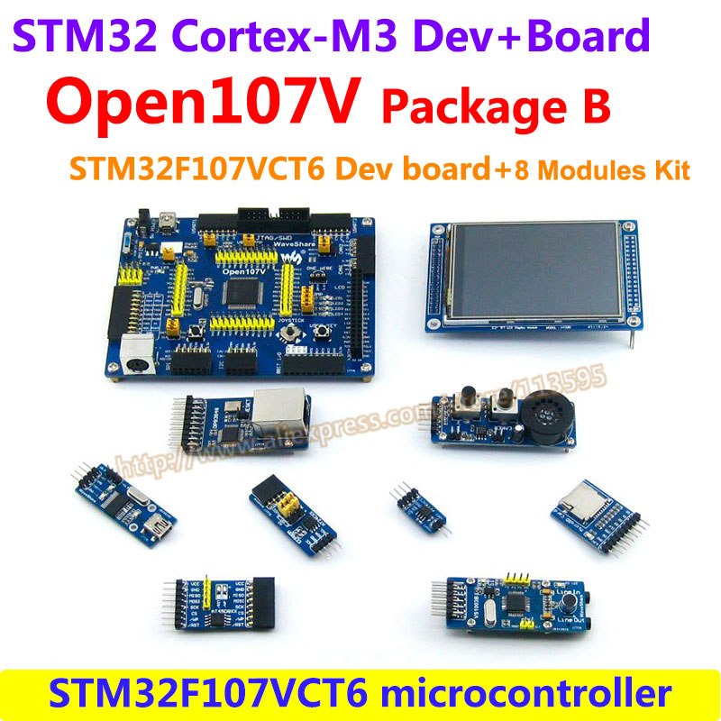 STM32 Board STM32F107VCT6 STM32F107 ARM Cortex-M3 STM32 Development Board(64KB RAM)+8pcs Accessory Modules=Open107V Package B fast free ship for pcduino8 uno 8 nuclear development board h8 8 core arm cortex 7 2 0ghz development board exceed raspberry pi