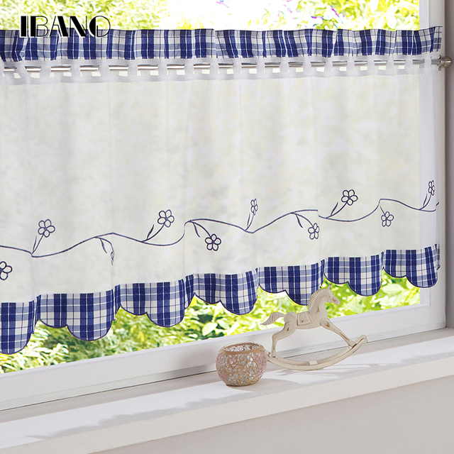 US $7.51 5% OFF|Plaid Style Embroidered Tulle Curtains for the Kitchen 100%  Tab Top Polyester Pastoral Style Small Roman Curtain Bedroom 1 PCS-in ...