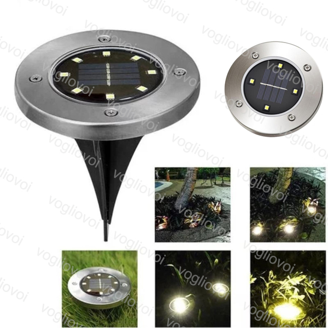 Vogliovoi Solar Led Outdoor Lighting Underground 4LED 8LEDS Warm White for Outdoor Path Garden Lawn Landscape Decoration Lamp