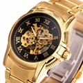 GANADOR de Los Hombres Número Romano Reloj de Pulsera Correa de acero Inoxidable Esqueleto Mecánico Automático Auto-viento de Oro de Primeras Marcas de Lujo reloj
