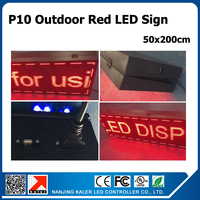 50X200cm outdoor waterproof p10 red color led sign moving message store advertising board 20x 79inches with WIFI control card
