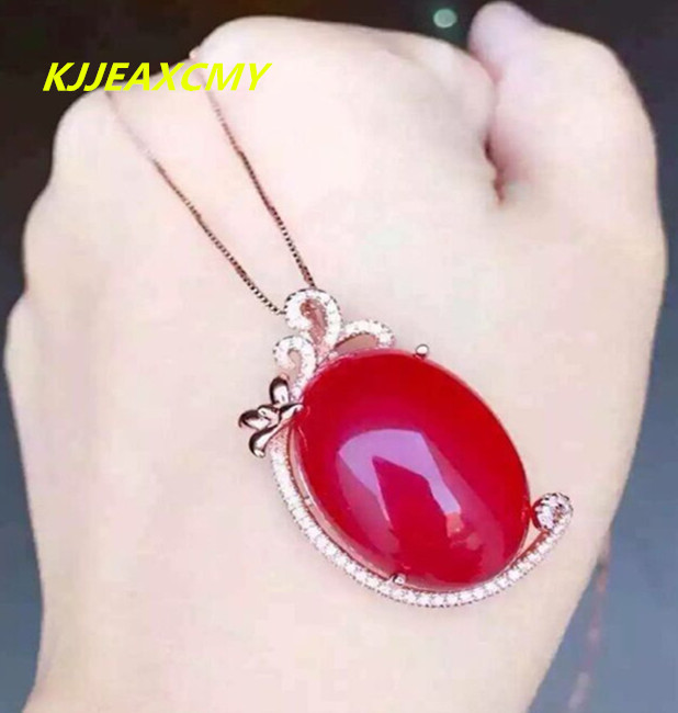 KJJEAXCMY boutique jewelry, Natural red chalcedony pendant inlaid female custom-made wholesale sterling silver S925 natural red chalcedony jewelry suits s925 silver europe and the big korean jewelry necklace