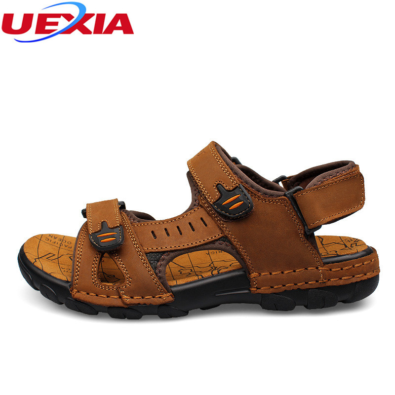 UEXIA Outdoor Plus Size 37-46 Men Sandals New Leather Summer Shoes Beach Flats Causal Breathable Mens Sandals zapatillas hombre