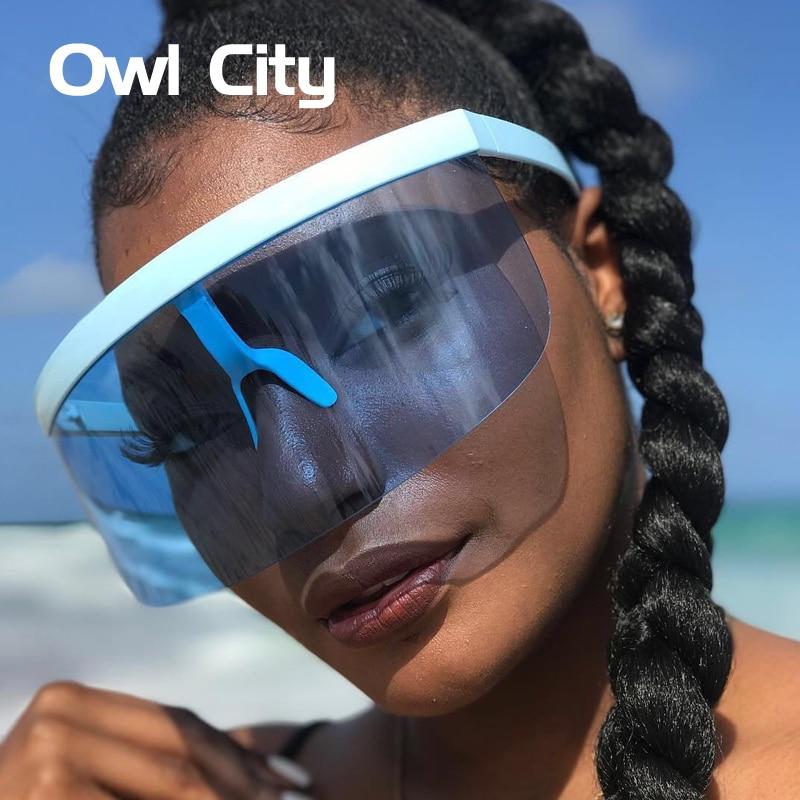 Gran tamaño Semi-Rimless gafas de sol mujer hombre futurista grande gafas de lujo gafas de sol moda Festival gafas UV400