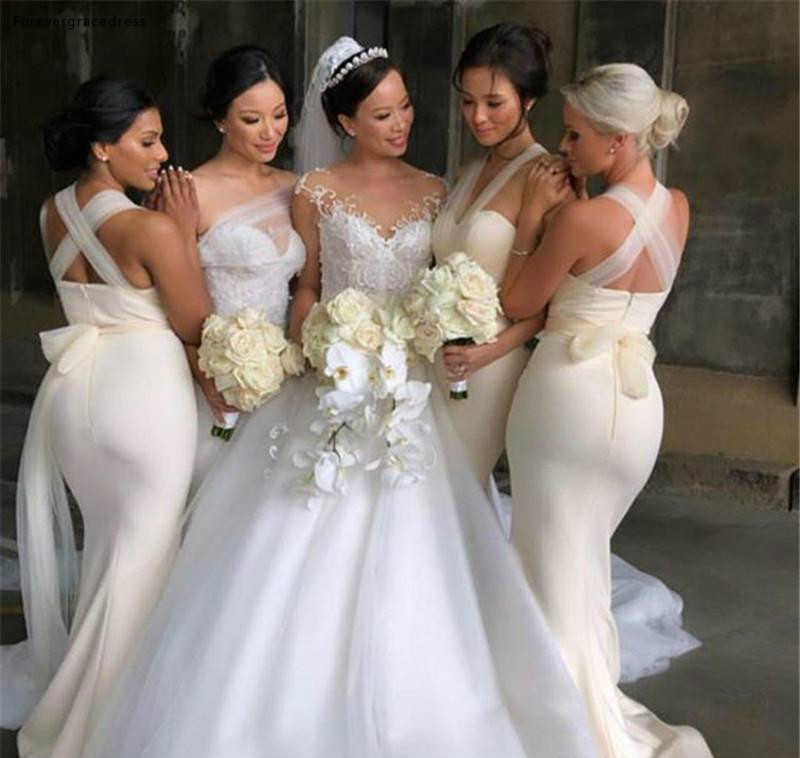 Mermaid   Bridesmaid     Dresses   2019 New Sweetheart Backless Summer Country Garden Formal Wedding Party Guest Maid of Honor Gowns