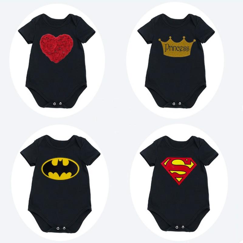 Tecknad Bebek Tulum Bomull Nyfödd Baby Boy Rompers Gullig Kortärmad Kostym 4 Färger Barnkläder Svart Barn Bebek Tulum