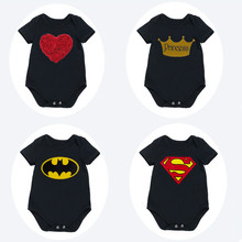 цена на Black Newborn Baby Clothes Cute Batman Short Sleeve Jumpsuits Superman Baby Boy Romper Children Clothing 2016 new summer Outfits