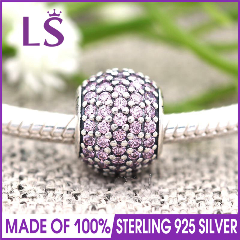 LS High Quality Real 100% 925 Silver and Pink Pave Ball Charm Beads Fit Original Bracelets Pulseira Encantos.100% Fine Jewlery W