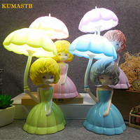 Cartoon Children Princess Night Light Touch 3 Gears Dimmable Table Lamp LED Rechargeable Luminaria de mesa Warm Bedside Lamp