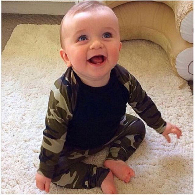 Cute Camouflage Newborn Baby Tactical Gear Clothing Set