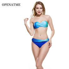 OPENATME Sexy Gradient Striped Backless Split Bikini Set Multicolor Shoulder Strap Detachable Ladies Swimwear Beachwear