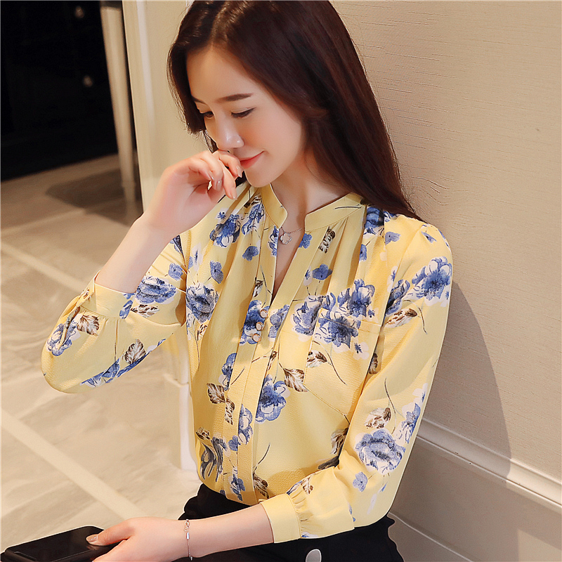 DHIHKK New Fashion Long Sleeve Office Lady   Shirt   Print Chiffon Women   Blouse     Shirt   LadyTops Feminine   Blouse   Women   Shirt   Blusas