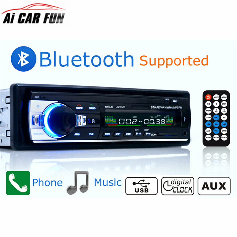 Autoradio Car Radio 12V Bluetooth V2.0 JSD520 Bil Stereo In-Dash 1 Din FM Aux Ingång Mottagare SD USB MP3 MMC WMA Car Radio Player
