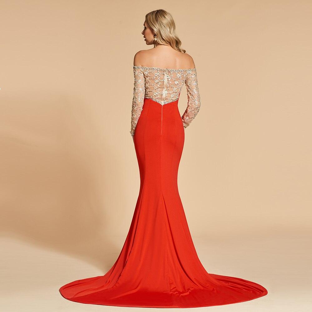 8986f5810f Dressv czerwony frezowanie trąbka suknia wieczorowa elegancki długie rękawy  wedding party formalna suknia cekiny mermaid suknie wieczorowe w Dressv  czerwony ...